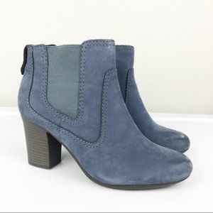 Clarks Bendables Blue Leather Heel Ankle Boot 11M